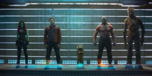 "L to R: Gamora (Zoe Saldana), Peter Quill/Star-Lord (Chris Pratt), Rocket Raccoon (voiced by Bradley Cooper), Drax The Destroyer (Dave Bautista) and Groot (voiced by Vin Diesel) in ""Marvel's Guardians Of The Galaxy."" ©Marvel."