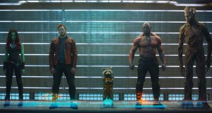 "L to R: Gamora (Zoe Saldana), Peter Quill/Star-Lord (Chris Pratt), Rocket Raccoon (voiced by Bradley Cooper), Drax The Destroyer (Dave Bautista) and Groot (voiced by Vin Diesel) in ""Marvel's Guardians Of The Galaxy."" ©Marvel. Ph: Film Frame ©Marvel 2014"