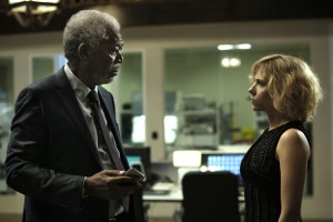"Professor Norman (MORGAN FREEMAN) attempts to comprehend Lucy (SCARLETT JOHANSSON) in ""Lucy."" ©Universal Pictures. CR: Jessica Forde."