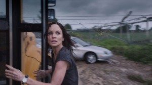 Allison (SARAH WAYNE CALLIES) tries to escape the tornado in INTO THE STORM. ©Warner Bros. Entertainment.