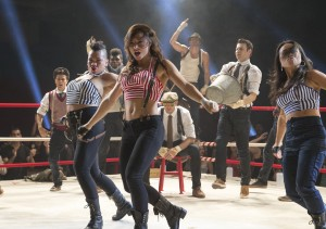 From left to right: Monster (Luis Rosado), Violet (Parris Goebel), Gauge (Cyrus 'Glitch' Spencer), Andie (Briana Evigan), Vladd (Chadd 'Madd Chadd' Smith) Sean (Ryan Guzman), Hair (Chris Scott), and Jenny Kido (Mari Koda) in STEP UP ALL IN. ©Summit Entertainment. CR: James Dittger.