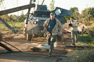 (l-r) MATT WALSH as Pete and LEE WHITAKER as Lucas in INTO THE STORM. ©Warner Bros. Entertainment. CR: Ron Phillips.