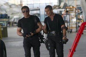 (l-r) Sylvester Stallone and Antonio Banderas on the set of THE EXPENDABLES 3. ©Lionsgate. CR: Phil Bray.
