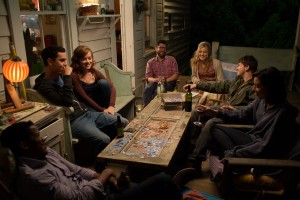 (l-r) Nate  Parker, Max Minghella, Jane Levy, Max Greenfield, Maggie Grace, Jason Ritter, Aubrey Plaza  in Jesse Zwick's ABOUT ALEX. ©Screen Media Film. CR: Jami Saunders.