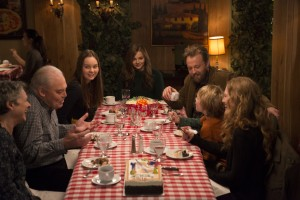 (l-r) GABRIELLE ROSE, STACY KEACH, LANA LIBERATO, CHLOE GRACE MORETZ, JOSHUA LEONARD, JAKOB DAVIES and MIREILLE ENOS in IF I STAY. ©Warner Bros. Entertainment. CR: Duane Gregory.