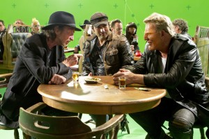 ROBERT RODRIGUEZ (center) on the set of SIN CITY: A DAME TO KILL FOR. ©Dimensions Films. CR: Rico Torres.
