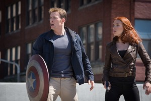 L to R: Captain America/Steve Rogers (Chris Evans) & Black Widow/Natasha Romanoff (Scarlett Johansson) in Marvel's Captain America: The Winter Soldier. ©Marvel.CR: Zade Rosenthal.