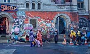 CHRISTOPH WALTZ (center) stars in ZERO THEOREM. ©Voltage Pictures.