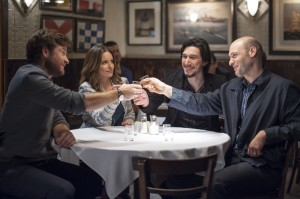 Judd Foxman (JASON BATEMAN), Wendy (TINA FEY), Phillip (ADAM DRIVER) and Paul (COREY STOLL) make a toast in THIS IS WHERE I LEAVE YOU. ©Warner Bros. Entertainment. CR: Nicole Rivelli.