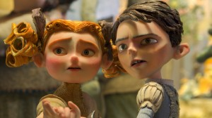 (L to R) Winnie (voiced by Elle Fanning) and Eggs (voiced by Isaac Hempstead Wright) in LAIKA and Focus Features' family event movie THE BOXTROLLS. ©Laika Inc/Focus Features.