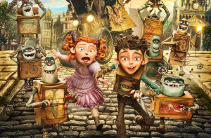 (center, L to R) Winnie (voiced by Elle Fanning) and Eggs (voiced by Isaac Hempstead Wright) in LAIKA and Focus Features' family event movie THE BOXTROLLS. ©Laik Inc/Focus Features.