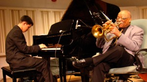 (l-r) JUSTINKAUFLIN and CLARK TERRY in KEEP ON KEEPIN' ON, produced by QUINCY JONES. ©Radius.