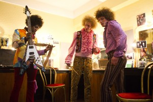 "(L-R) André Benjamin as Jimi Hendrix, Tom Dunlea as Mitch Mitchell and Oliver Bennett as Noel Redding in the drama/biopic ""JIMI: ALL IS BY MY SIDE."" ©XLrator Media. CR: Patrick Redmond."