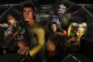 Kanan Jarrus (2nd from left) voiced by FREDDIE PRINZE JR leads his crew in STAR WARS REBEL. ©Disney XD.