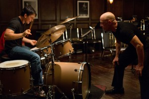 "Left to right: Miles Teller as Andrew and J.K. Simmons as Fletcher in ""Whiplash."" ©Sony Pictures Classics. CR: Daniel McFadden."