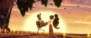 Manolo (DIEGO LUNA) woos the independent and strong-willed Maria (ZOè SALDANA) in THE BOOK OF LIFE. ©20TH Century Fox/Reel FX.
