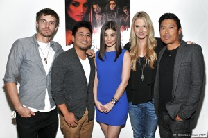 "(l-r) Caleb Hunt, Deon  Basco, Anne Curtis, Vanessa Evigan,Darion Basco at the press conference of ""Blood Ransom"" held at Noypitz Restaurant in Glendale, CA."