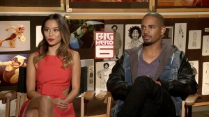 "(l-r) jamie Chung and Damon Wayans Jr. during their press interview for ""Big Hero 6"" at the Walt Disney Animation Studio. ©Pacific Rim Video."