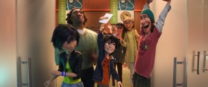 "(L-R): GoGo Tomago, Wasabi, Hiro, Tadashi, Honey Lemon and Fred in ""Big Hero 6."" ©2014 Disney. All Rights Reserved."