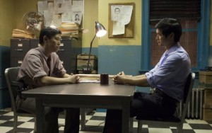 "(l-r) in Auyeung and Harry Shum Jr. in ""Revenge of the Green Dragons."" ©A24 Films."
