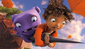 (l-r) Oh (voiced by Jim Parsons) and Tip (voiced by Rihanna) in DreamWorks Animation's HOME. ©Dreamworks LLC.
