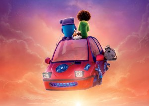 (sitting, l-r) Oh (voiced by Jim Parsons) and Tip (voiced by Rihanna) in DreamWorks Animation's HOME. ©Dreamworks LLC.