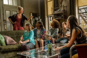 Miss Hannigan (Cameron Diaz) talks to her foster girls Tessie (Zoe Margaret Colletti), Isabella (Eden Duncan-Smith), Annie (Quvenzhane Wallis), Mia (Nicolette Pierini) and Pepper (Amanda Troya) in Columbia Pictures' ANNIE. ©CTMG. CR: Barry Wetcher.
