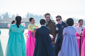 Aaron (Seth Rogen) and Dave (James Franco) arrive in North Korea to a welcoming crowd in Columbia Pictures' THE INTERVIEW. ©CTMG. C: Ed Araquel.