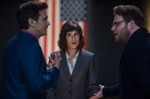 Lacey (Lizzy Caplan) with Dave (James Franco) and Aaron (Seth Rogen) in Columbia Pictures' THE INTERVIEW. ©CTMG. CR: Ed Araquel.