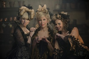 Lucy Punch, Christine Baranski and Tammy Blanchard bring Cinderella's evil stepsisters and stepmother to life in INTO THE WOODS. ©Disney Enterprises. CR: Peter Mountain.