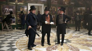 Left to right: Timothy Spall as J.M.W. Turner, Clive Francis as Sir Martin Archer Shee and Simon Chandler as Sir Augustus Wall Callcott in MR. TURNER. ©Sony Pictures Classics.