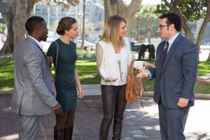 Jimmy Callahan (Kevin Hart), Alison Palmer (Olivia Thirlby), Gretchen Palmer (Kaley Cuoco) and Doug Harris (Josh Gad) in Screen Gems' THE WEDDING RINGER. ©Screen  Gems. CR: Matt Kennedy.