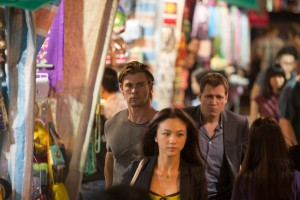 (L to R) Nicholas Hathaway (CHRIS HEMSWORTH), Chen Lien (TANG WEI) and Deputy U.S. Marshal Mark Jessup (HOLT MCCALLANY) in BLACKHAT. ©Universal Pictures/Legendary Pictures. CR: Frank Connor.