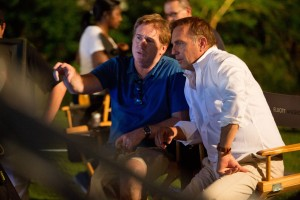 Director Mike Binder discusses a scene with star Kevin Costner on the set of Relativity Media's BLACK OR WHITE. © 2014 BLACKWHITE, LLC. CR: Tracey Bennett