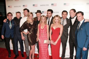 Group shot of cast and crew arrives on the red carpet of the premiere of AMERICONS held at the Arclight Theaters in Hollywood, CA on Thursday, January 22, 2015. ©Theresa Bouche