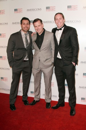 (L-R) Producer Matt Medrano, Archstone Distribution President & CEO Brady Bowen, Co-Creator and star Beau Martin Williams arrives on the red carpet of the premiere of AMERICONS held at the Arclight Theaters in Hollywood, CA on Thursday, January 22, 2015. ©Theresa Bouche