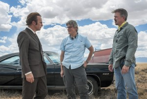 (l-r) Bob Odenkirk as Saul Goodman on the set of BETTER CALL SAUL with executive producers Peter Gould and Vince Gilligan ©Jacob Lewis/AMC