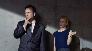 Bob Odenkirk as Saul Goodman and Rhea Seehorn as Kim in BETTER CALL SAUL. Better Call Saul. ©Ursula Coyote/AMC