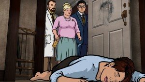 (L-R) Dr. Krieger (voice of Lucky Yates), Pam Poovey (voice of Amber Nash), Cyril Figgis (voice of Chris Parnell), Cheryl Tunt (voice of Judy Greer) in ARCHER. ©FX.