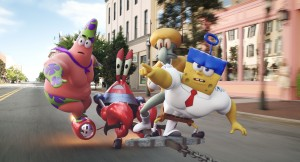 (l-r) Patrick Star (as Mr. Superawesomeness), Mr. Krabs (as Sir Pinch-A-Lot), Squidward Tentacles (as Sour Note), and SpongeBob SquarePants (as The Invincibubble) in THE SPONGEBOB MOVIE: SPONGE OUT OF WATER. ©Paramont Pictures / Viacom International. CR: Paramount Pictures Animation.