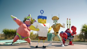 Left to right: Patrick Star (as Mr. Superawesomeness), SpongeBob SquarePants (as The Invincibubble), Squidward Tentacles (as Sour Note), and Mr. Krabs (as Sir Pinch-A-Lot), in THE SPONGEBOB MOVIE: SPONGE OUT OF WATER. ©Paramount Pictures / Viacom.