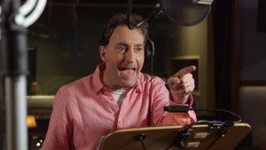 Actor Tom Kenny (who voices SpongeBob SquarePants) behind the scenes on THE SPONGEBOB MOVIE: SPONGE OUT OF WATER. ©Paramount Pictures / Viacom.