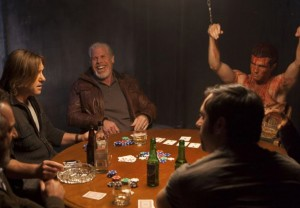 (l-r) Ron Perlman, Ron  Eldard and Beau Mirchoff in POKER NIGHT. ©XLRATOR