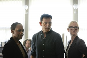 (l-r) Regina Taylor as Ruth Ridell, Jason Isaacs as Peter Connelly, Anne Heche as Lynn Monahan in the USA Network show DIG. ©USA Network. CR: Ronen Akerman/USA Network.