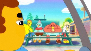 John C. Reilly (left) voices Office Barry in STONE QUACKERS . ©FX Networks.