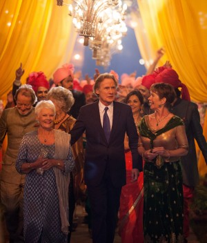 "Judi Dench as ""Evelyn Greenslade,"" Bill Nighy as ""Douglas Ainslie,"" and Celia Imrie as ""Madge Hardcastle in THE SECOND BEST EXOTIC MARTIGOLD HOTEL. ©20th Century Fox. CR: Laurie Sparham."