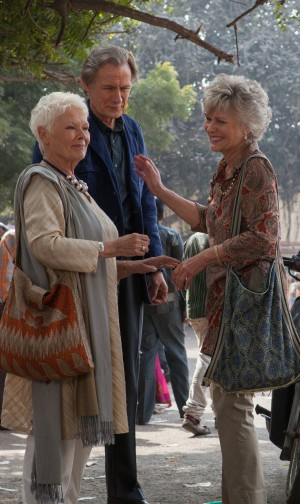 "(l-r) Judi Dench as ""Evelyn Greenslade,"" Bill Nighy as ""Douglas Ainslie"" and Diana Hardcastle as ""Carol"" in THE SECOND BEST EXOTIC MARIGOLD HOTEL. ©20th Century Fox. CR: Laurie Sparham"