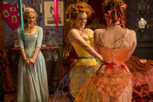 (l-r) Lily James is Cinderella,  Sophie McShera is Drisella and Holliday Grainger is Anastasia in Disney's live-action feature inspired by the classic fairy tale, CINDERELLA. ©Disney Enterprises. CR: Jonathan Olley.