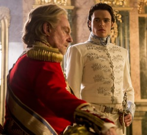 Richard Madden (r) is the Prince and Derek Jacobi (l) is the King in Disney's live-action CINDERELLA. ©Disney Enterprises. CR: Jonathan Olley.
