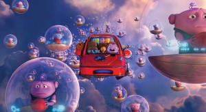 (l-r) The odd couple of friends Tip (Rihanna) and Oh (Jim Parsons) navigate their way through a crowded sky of bubble-driving Boov. ©DreamWorks Animation.